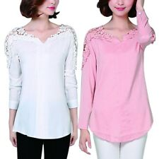 Women's Lace Crochet Tops Tee Lady Long Sleeve Shirt Casual Blouse Loose T-shirt