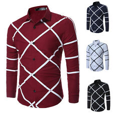 4 Color Mens Luxury Long Sleeve Shirt Casual Slim Fit Stylish Dress Shirts Top