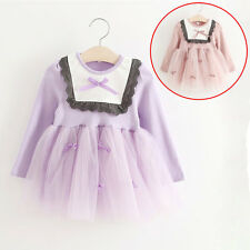 NEW Baby Girls Kids Lace Dress Single Skirt Fall Spring Long Tutu Dress