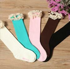 Children Lace Bowknot In Tube Socks Baby Girls Knee-high Socks Pure Color Tight