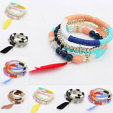Women's Multilayer Feather Bead Bangle Charm Cuff Stretch Wristband Bracelet New