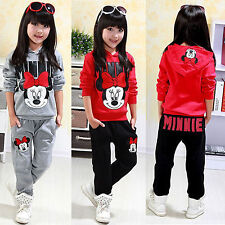 Girls Kids 2pcs Minnie Mouse Outfits Set Casual Hoodies Top + Pants Sports Suit