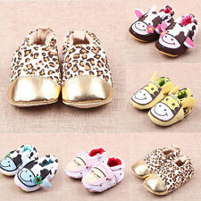 HOT Baby Toddler boy girl Soft Sole Cow Crib Shoes PreWalker 0-1Years