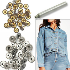 14mm Jeans Buttons Gunmetal Replacement Metal Denim with W/O Hand Tool JB44