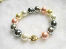bracelet colorful mother-of-pearl shell 12mm round beads 7 1/2""