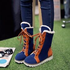 Womens Mid-calf Synthetic Suede Flat Heels Multi-color Winter Snow Boots Shoes