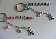 Christening Gift for baby girl or Boy keychain/wine charm, babies birth