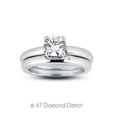 0.56ct D-SI2 Ideal Round Certified Diamond 14K Gold Classic Engagement Set 8.89g