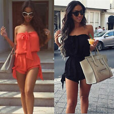 Womens Summer Dress Sexy Mini Playsuit Off Shoulder Celeb Ladies Casual Jumpsuit