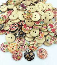 50 /100pcs Mixed Flower Pattern 2 Holes Wood Buttons Sewing Scrapbooking 15mm