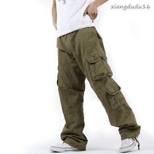 Mens Cargo Leisure Hip-pop Pocket Casual Overalls Baggy Pants Trousers US Size