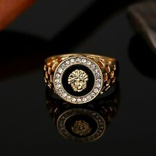 New Unique Design Crystal Gem Men's 18k Gold Plated Fashion Jewelry Ring