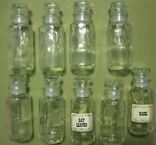 Lot of 9 Vintage Clear Glass Octagonal Spice Apothecary Jars & Unused Labels
