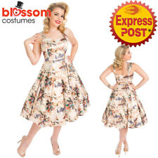 RKH101 Hearts and Roses H&R Botanical Bird Retro 50s Rockabilly Dress Vintage
