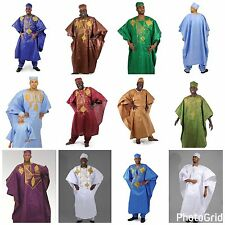 African Grand Bou Bou Pant Set Mens Dashiki 4 Piece w/Kufi