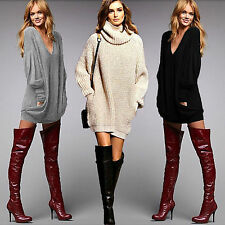 Womens Chunky Knit Jumper Pocket Oversize Loose Pullover Sweater Jumper Dresses