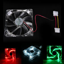 Quad 4-LED Light Neon Clear 120mm PC Computer Case Cooling Fan Popular 7Y2