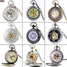 Mens Vintage Steampunk Mechanical Pocket Watch Skeleton Pendant Chain Windup NEW