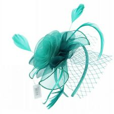 Turquoise Large Flower Ladies Fascinator With Net Detailing