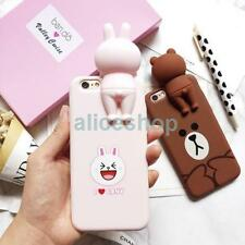 For iPhone 7 7 Plus 6 6S Cartoon 3D Brown Bear Rabbit Soft Silicone Case Cover