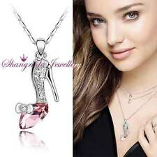 18K GOLD / SILVER Layered CINDERELLA NECKLACE with SWAROVSKI CRYSTAL K505 PINK