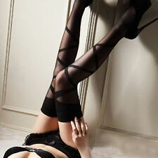 Women Girls Sexy Lace Mesh Hold Ups Thigh-Highs Stripes Stockings Tights Black
