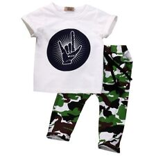 2PCS Kids Baby Boys Outfit Set Short Sleeve Tops T-shirt + Camouflage Long Pants