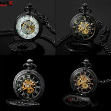 Antique Steampunk Mechanical Pocket Watch Fob Chain Windup Retro Mens Gift Black