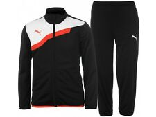 New Mens PUMA Full Tracksuit Pants Jogging Bottoms Zip Jacket Track Top - Black