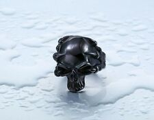 Mens Black Skull Biker Jewelry Ring Demon Claws Cool Black Stainless Steel Band