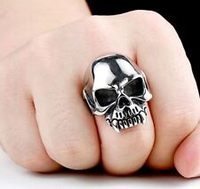 Mens Vampire Skull Biker Ring Silver Stainless Steel Jewelry Cool Unique Band