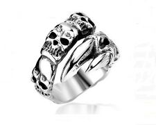 Mens Biker Skull Ring Stainless Steel Silver Gothic Jewelry Claw Mens Ring Band