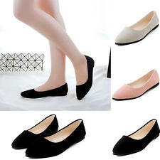 New Women's Slip On Suede Ballerina Flat Shoes Casual Pointed Toe Loafer Shoes G