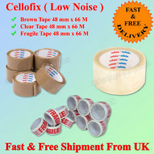 """CELLOFIX LOW NOISE PACKING PARCEL TAPE BROWN CLEAR FRAGILE TAPE 48MM2""""X66M CHEAP"""