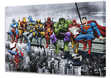 Breakfast Of Champions!  Superhero lunch atop a skyscraper! A1 Mounted Canvas