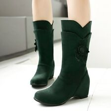 Womens Suede Low Hidden Heels Pull On Casual Winter Warm Boots Shoes Plus Size