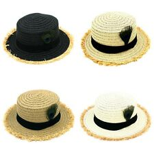 Women Straw Boater Hat Beach Party Cap Peacock Feather Crushed Brim Ribbon Band