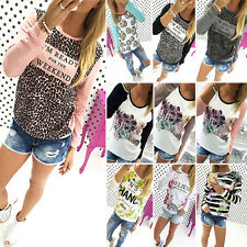 Womens Floral Print Casual Sweatshirt Pullover Ladies Hoodie Jumper Tops Shirts