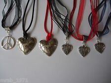 Necklaces - Hand-made - Organza / Waxed Cord & Silver Tone Pendants / Charms