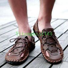 Mens Boy Close Toe Summer Leather Sand Beach roma Casual Lace Up Sandals Slipper