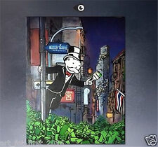 Alec Monopoly Abstract Handcraft HUGE Oil Painting on Canvas Night Street