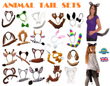 ANIMAL EARS BOW TAIL SET Costume Accessory Fancy Dress Party Kids Adults Kit NEW