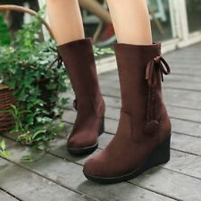 Sweet Womens Suede Boots Round Toe Mid-calf Boots Wedge Pull On Tassel Boots