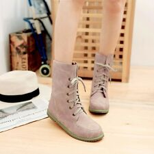 US Size 5-15 Comfortable Womens Synthetic Leather Flats Heel Lace Up Boots Shoes