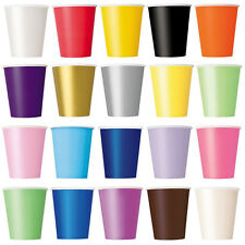 20pcs Paper CUPS (9oz) - Plain Solid Colours Birthday Party Tableware Catering