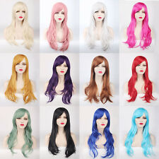 """Women 28"""" 70cm Long Curly Hair Cosplay Wig Oblique Bang Heat Resistant Hair"""