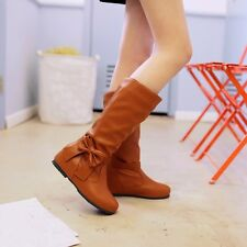 US Size 5-15 Womens Synthetic Leather Mid-Calf Low Heels Wedges Boots Lady Shoes