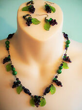 Vintage 1940s 1950s Glass Necklace/Earrings Set - Lampwork Glass Grape