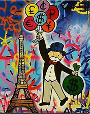 Alec Monopoly Graffiti Handcraft OIL PAINTING WALL DECO ART CANVAS MONEY BALOONS