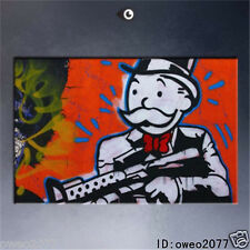 Alec Monopoly Handcraft HUGE Oil Painting Wall Decor Art Canvas Gun in hand